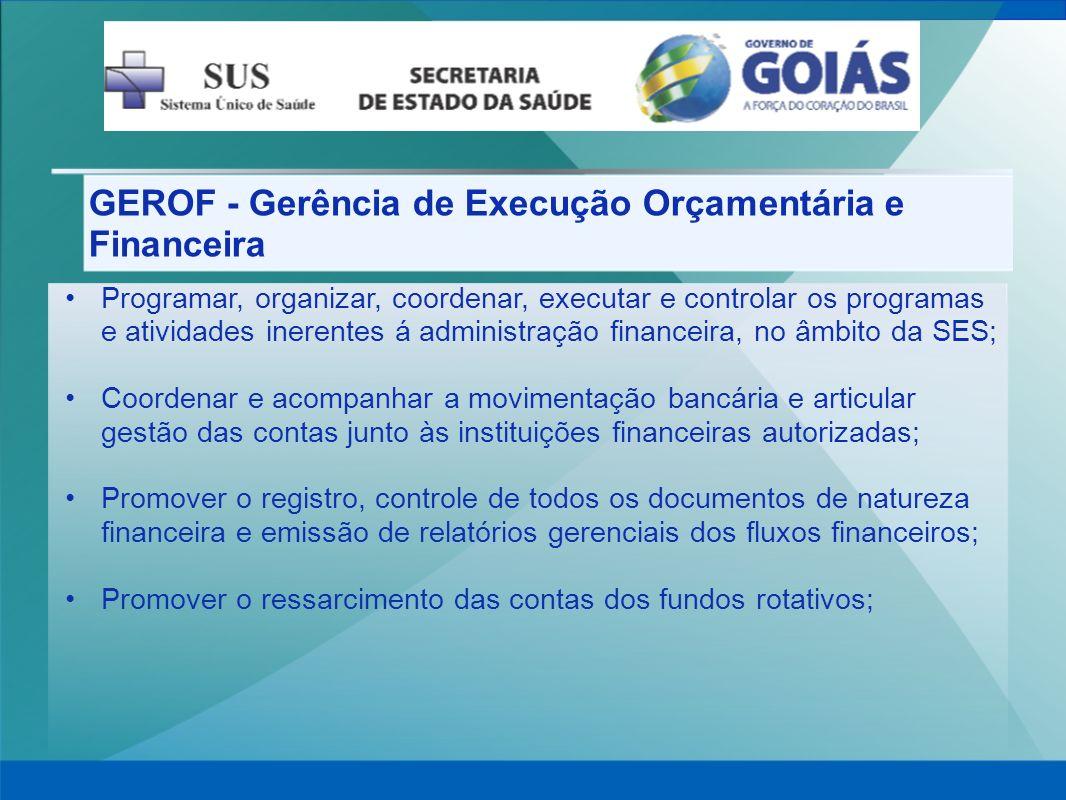 GEROF - Gerência de Execução Orçamentária e Financeira Programar, organizar, coordenar, executar e controlar os programas e atividades inerentes á adm