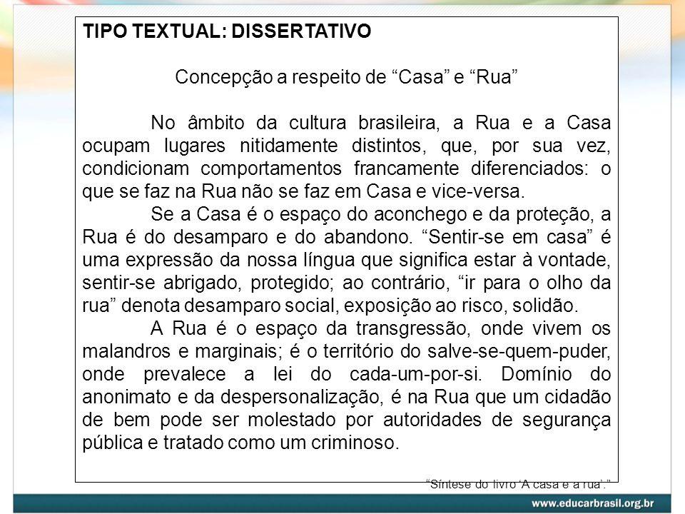 TIPO TEXTUAL: DISSERTATIVO Concepção a respeito de Casa e Rua No âmbito da cultura brasileira, a Rua e a Casa ocupam lugares nitidamente distintos, qu