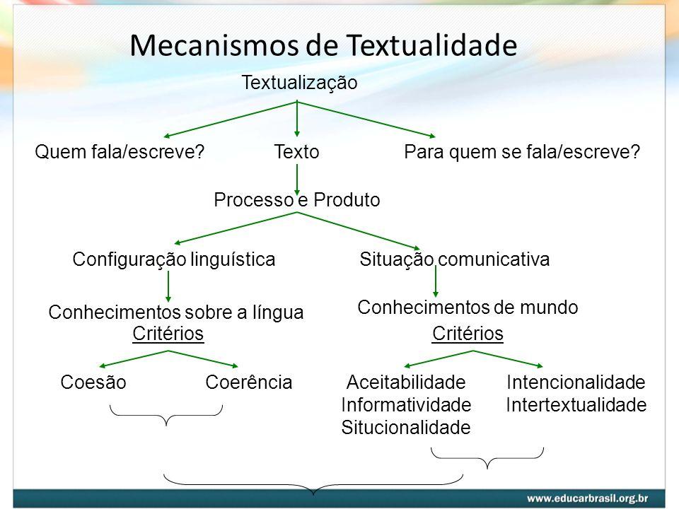 Mecanismos de Textualidade Textualização Quem fala/escreve?Para quem se fala/escreve?Texto Processo e Produto Configuração linguísticaSituação comunic