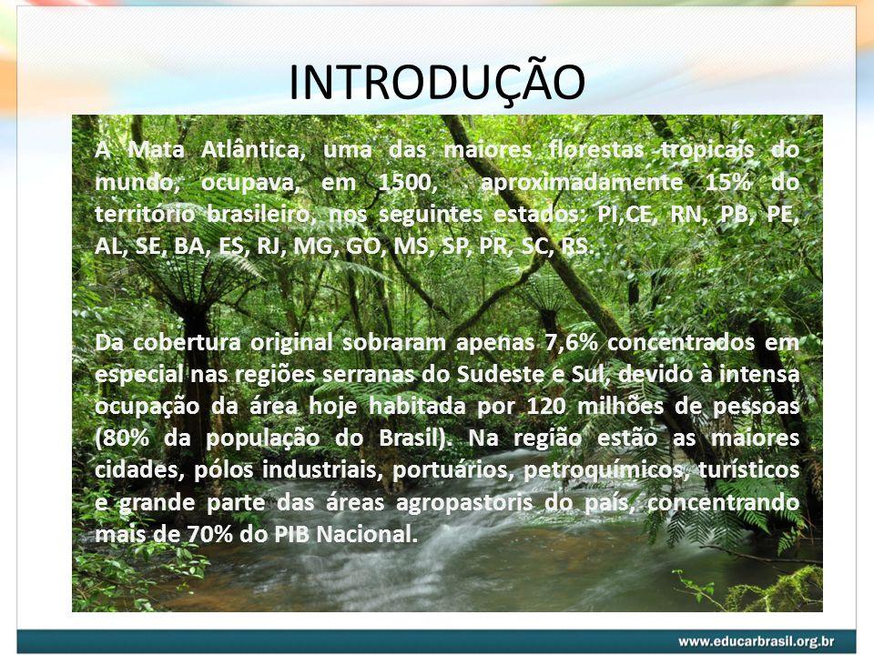 INTRODUÇÃO A Mata Atlântica, uma das maiores florestas tropicais do mundo, ocupava, em 1500, aproximadamente 15% do território brasileiro, nos seguint