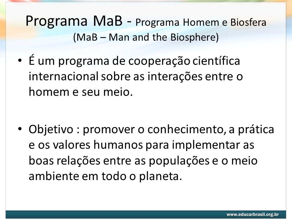 Programa MaB - Programa Homem e Biosfera (MaB – Man and the Biosphere) É um programa de cooperação científica internacional sobre as interações entre