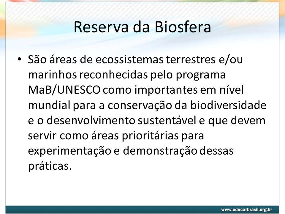 Reserva da Biosfera São áreas de ecossistemas terrestres e/ou marinhos reconhecidas pelo programa MaB/UNESCO como importantes em nível mundial para a