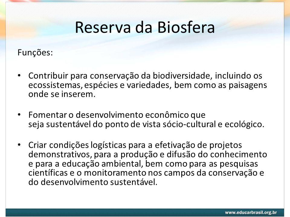 Reserva da Biosfera Funções: Contribuir para conservação da biodiversidade, incluindo os ecossistemas, espécies e variedades, bem como as paisagens on