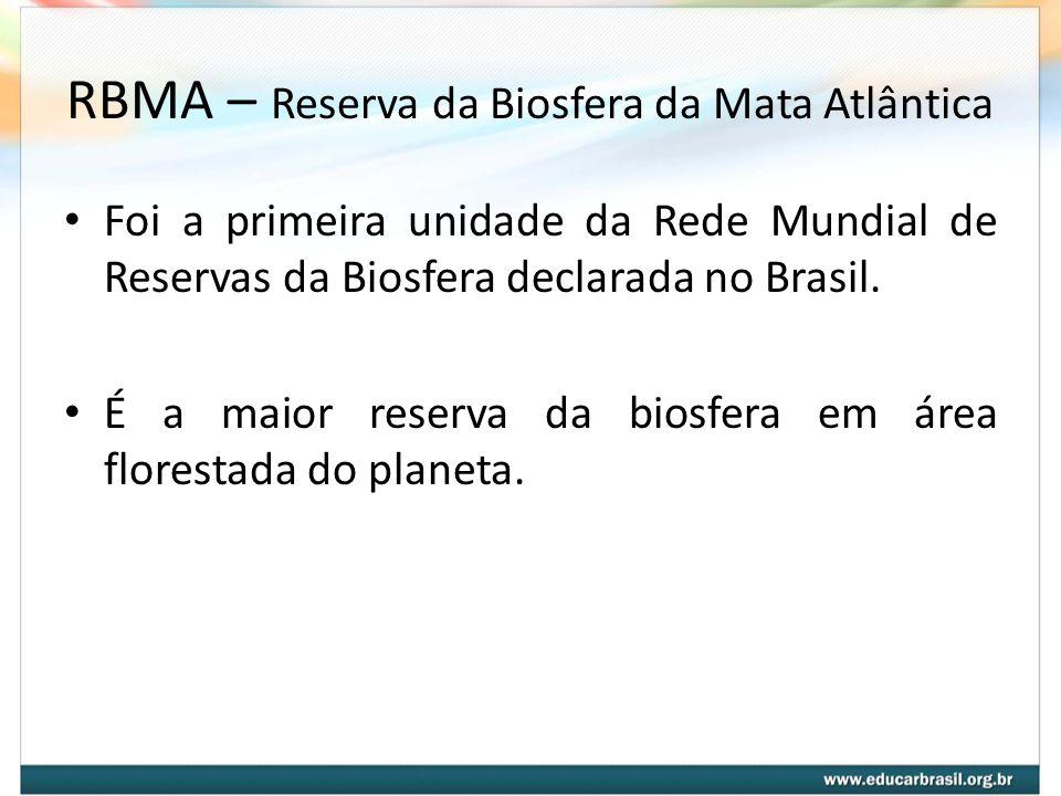 RBMA – Reserva da Biosfera da Mata Atlântica Missão da RBMA: Contribuir de forma eficaz para o estabelecimento de uma relação harmônica entre as sociedades humanas e o ambiente na área da Mata Atlântica.