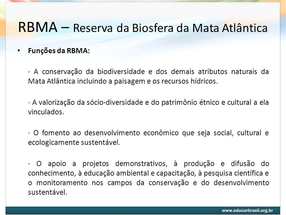 RBMA – Reserva da Biosfera da Mata Atlântica Funções da RBMA: · A conservação da biodiversidade e dos demais atributos naturais da Mata Atlântica incl