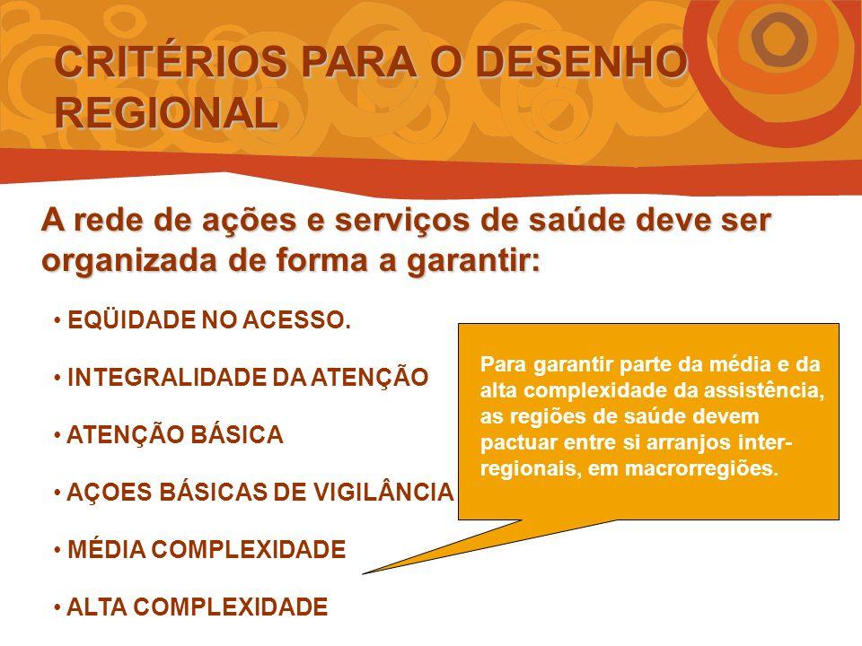 CRITÉRIOS PARA O DESENHO REGIONAL EQÜIDADE NO ACESSO.