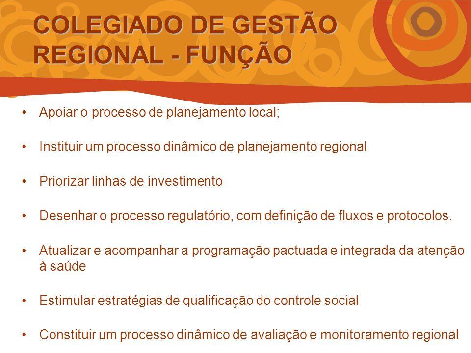 Apoiar o processo de planejamento local; Instituir um processo dinâmico de planejamento regional Priorizar linhas de investimento Desenhar o processo regulatório, com definição de fluxos e protocolos.