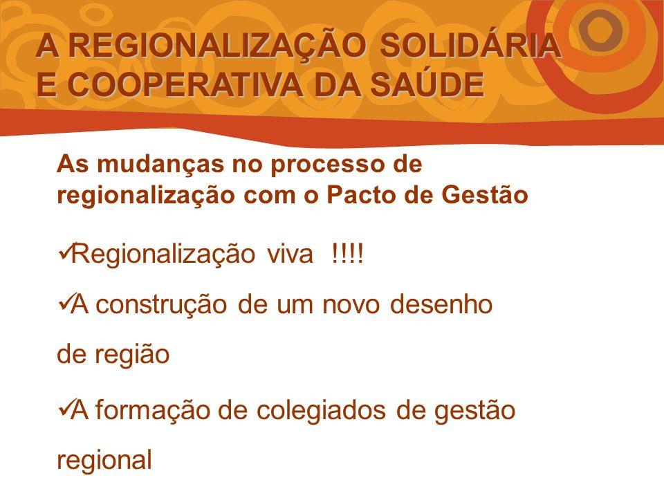 A REGIONALIZAÇÃO SOLIDÁRIA E COOPERATIVA DA SAÚDE As mudanças no processo de regionalização com o Pacto de Gestão Regionalização viva !!!.