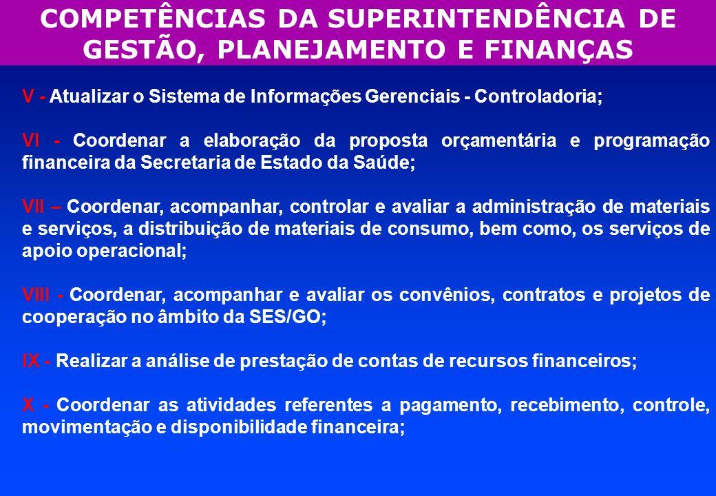 V - Atualizar o Sistema de Informações Gerenciais - Controladoria; VI - Coordenar a elaboração da proposta orçamentária e programação financeira da Se