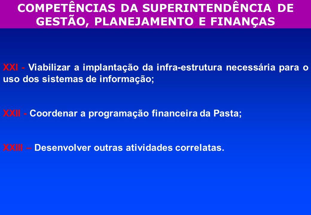 COMPETÊNCIAS DA SUPERINTENDÊNCIA DE GESTÃO, PLANEJAMENTO E FINANÇAS XXI - Viabilizar a implantação da infra-estrutura necessária para o uso dos sistem