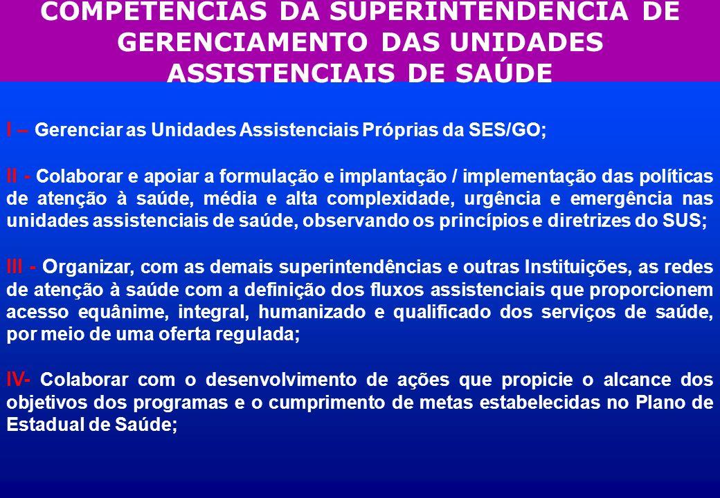 COMPETÊNCIAS DA SUPERINTENDÊNCIA DE GERENCIAMENTO DAS UNIDADES ASSISTENCIAIS DE SAÚDE I – Gerenciar as Unidades Assistenciais Próprias da SES/GO; II -