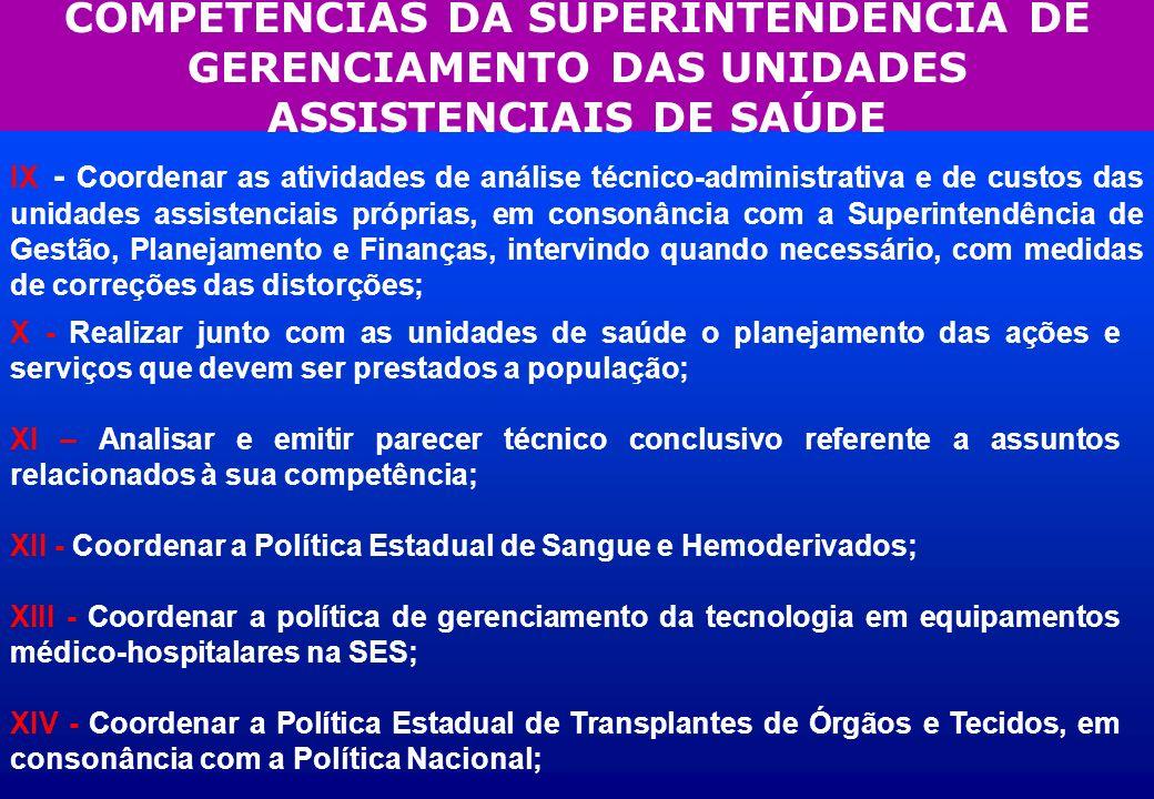 COMPETÊNCIAS DA SUPERINTENDÊNCIA DE GERENCIAMENTO DAS UNIDADES ASSISTENCIAIS DE SAÚDE IX - Coordenar as atividades de análise técnico-administrativa e
