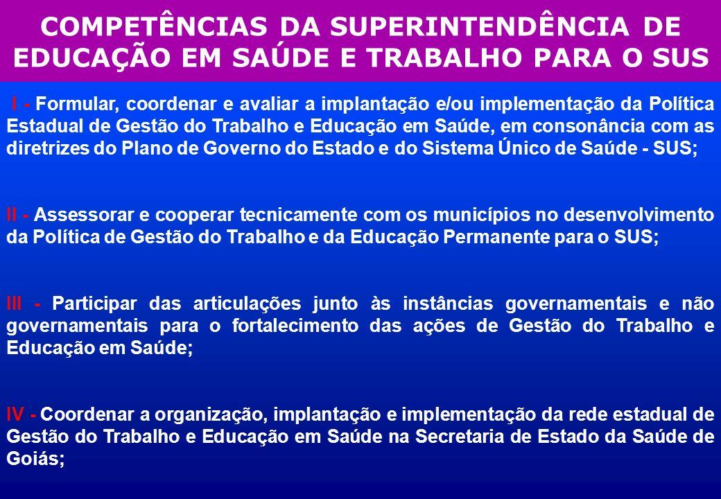 COMPETÊNCIAS DA SUPERINTENDÊNCIA DE EDUCAÇÃO EM SAÚDE E TRABALHO PARA O SUS I - Formular, coordenar e avaliar a implantação e/ou implementação da Polí