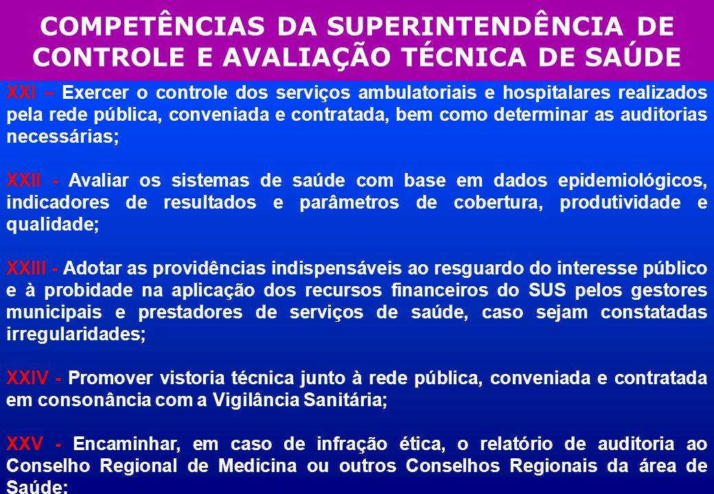 COMPETÊNCIAS DA SUPERINTENDÊNCIA DE CONTROLE E AVALIAÇÃO TÉCNICA DE SAÚDE XXI – Exercer o controle dos serviços ambulatoriais e hospitalares realizado
