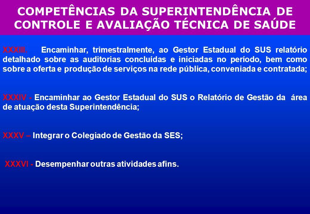 COMPETÊNCIAS DA SUPERINTENDÊNCIA DE CONTROLE E AVALIAÇÃO TÉCNICA DE SAÚDE XXXIII. Encaminhar, trimestralmente, ao Gestor Estadual do SUS relatório det