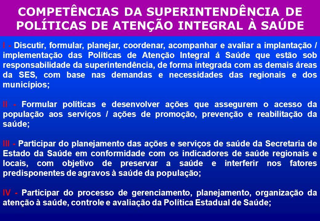 COMPETÊNCIAS DA SUPERINTENDÊNCIA DE POLÍTICAS DE ATENÇÃO INTEGRAL À SAÚDE I - Discutir, formular, planejar, coordenar, acompanhar e avaliar a implanta