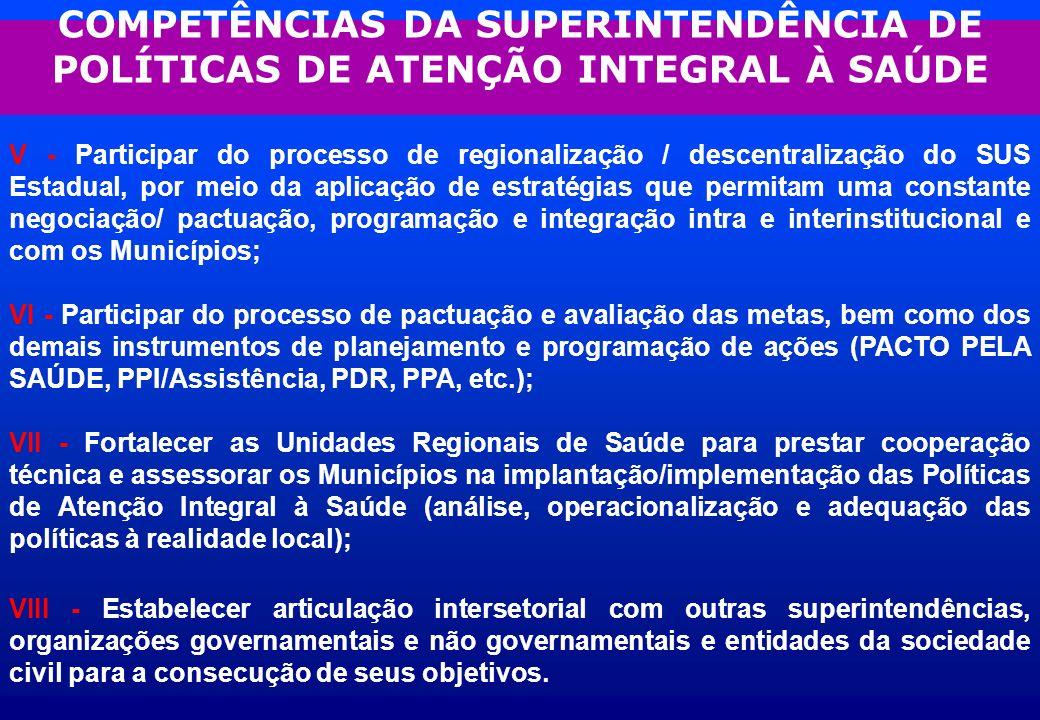 COMPETÊNCIAS DA SUPERINTENDÊNCIA DE POLÍTICAS DE ATENÇÃO INTEGRAL À SAÚDE V - Participar do processo de regionalização / descentralização do SUS Estad