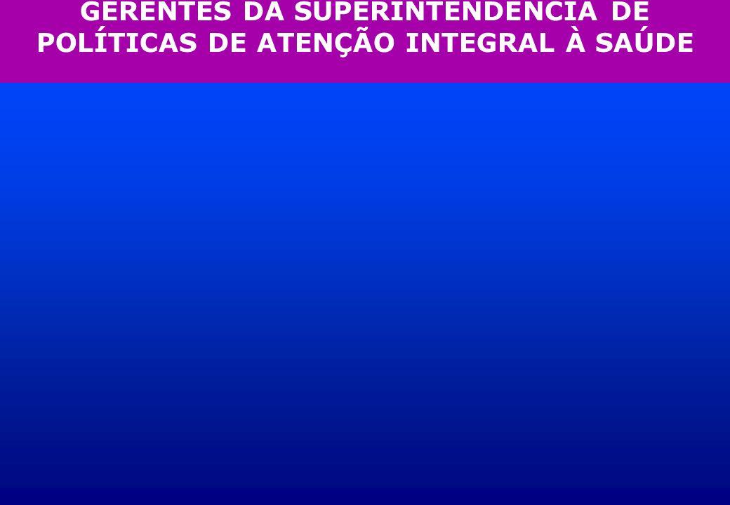 GERENTES DA SUPERINTENDÊNCIA DE POLÍTICAS DE ATENÇÃO INTEGRAL À SAÚDE