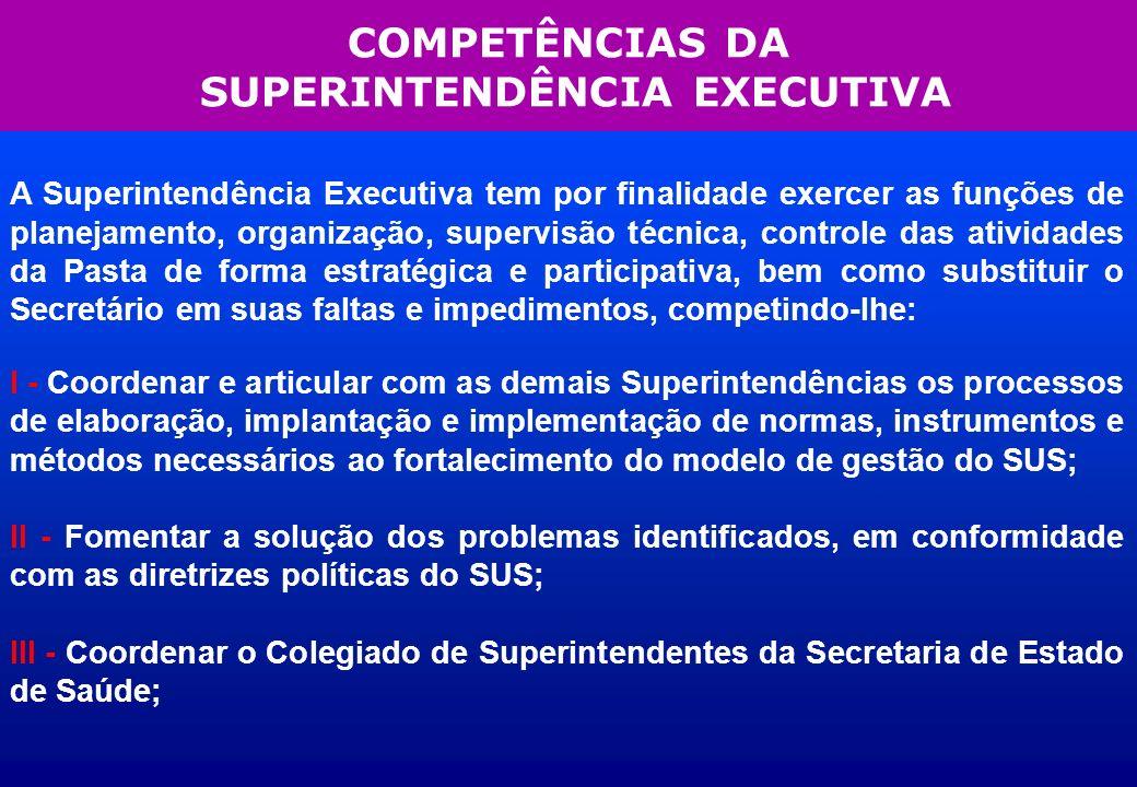 COMPETÊNCIAS DA SUPERINTENDÊNCIA EXECUTIVA A Superintendência Executiva tem por finalidade exercer as funções de planejamento, organização, supervisão