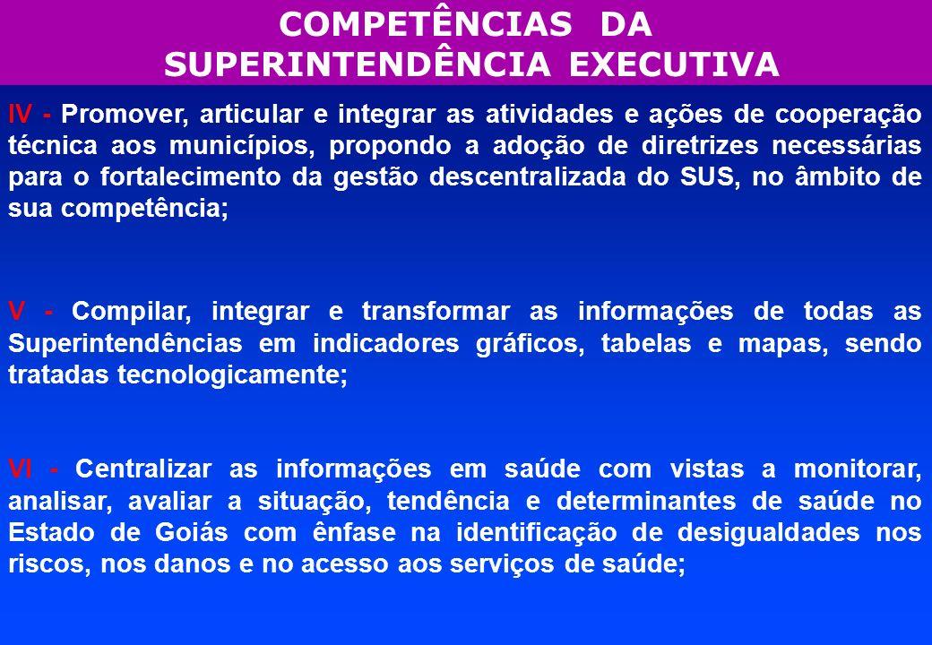 COMPETÊNCIAS DA SUPERINTENDÊNCIA EXECUTIVA V - Compilar, integrar e transformar as informações de todas as Superintendências em indicadores gráficos,