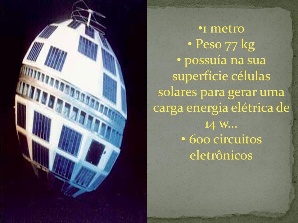1 metro Peso 77 kg possuía na sua superfície células solares para gerar uma carga energia elétrica de 14 w...