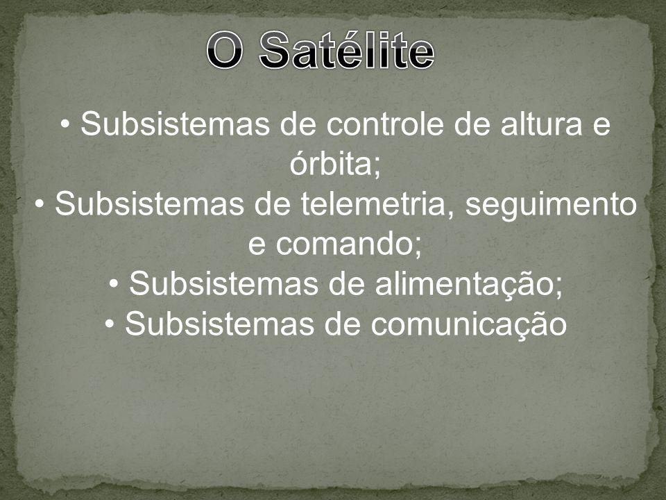 Subsistemas de controle de altura e órbita; Subsistemas de telemetria, seguimento e comando; Subsistemas de alimentação; Subsistemas de comunicação