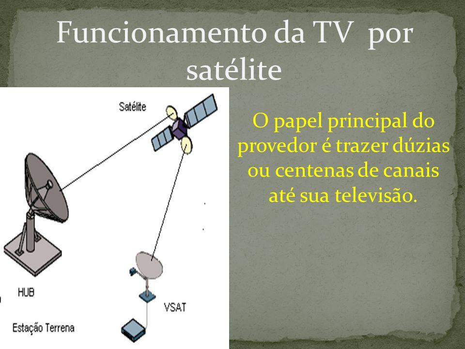 Funcionamento da TV por satélite O papel principal do provedor é trazer dúzias ou centenas de canais até sua televisão.