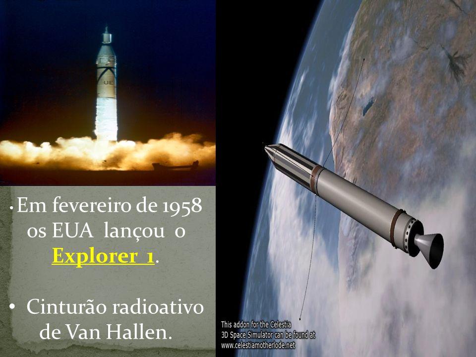 Em fevereiro de 1958 os EUA lançou o Explorer 1. Cinturão radioativo de Van Hallen.
