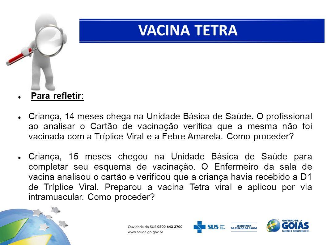 VACINA TETRA VIRAL Para refletir: Criança, 14 meses chega na Unidade Básica de Saúde. O profissional ao analisar o Cartão de vacinação verifica que a