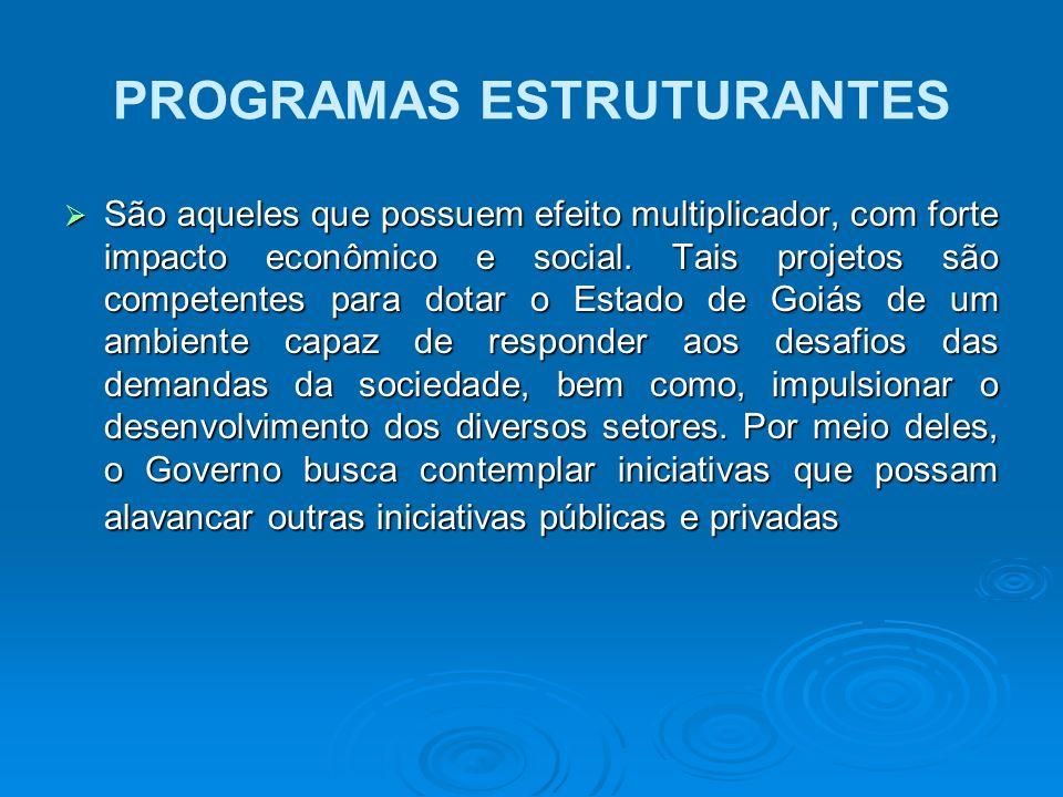 PROGRAMAS ESTRUTURANTES São aqueles que possuem efeito multiplicador, com forte impacto econômico e social. Tais projetos são competentes para dotar o