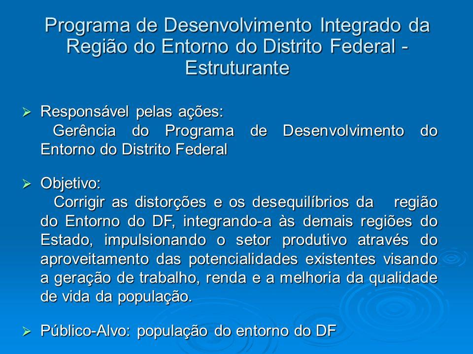 Programa de Desenvolvimento Integrado da Região do Entorno do Distrito Federal - Estruturante Responsável pelas ações: Responsável pelas ações: Gerênc