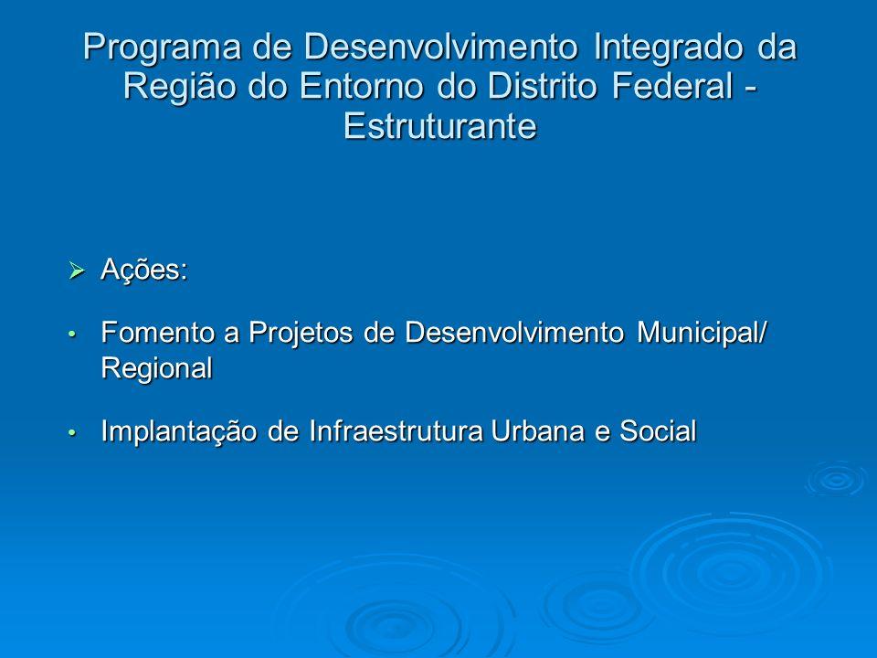 Ações: Ações: Fomento a Projetos de Desenvolvimento Municipal/ Regional Fomento a Projetos de Desenvolvimento Municipal/ Regional Implantação de Infra
