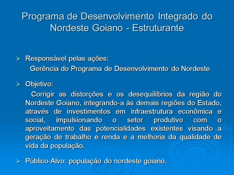 Programa de Desenvolvimento Integrado do Nordeste Goiano - Estruturante Responsável pelas ações: Responsável pelas ações: Gerência do Programa de Dese