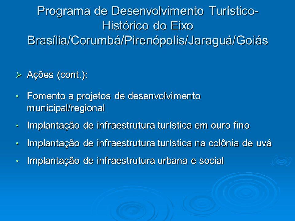 Programa de Desenvolvimento Turístico- Histórico do Eixo Brasília/Corumbá/Pirenópolis/Jaraguá/Goiás Ações (cont.): Ações (cont.): Fomento a projetos d