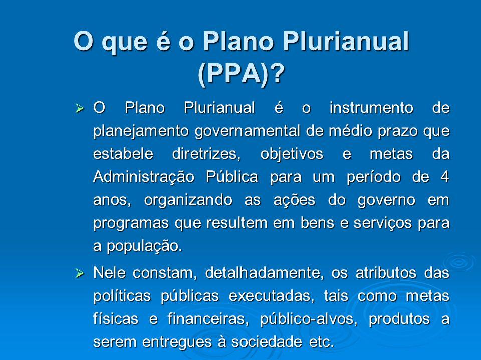 O que é o Plano Plurianual (PPA)? O Plano Plurianual é o instrumento de planejamento governamental de médio prazo que estabele diretrizes, objetivos e