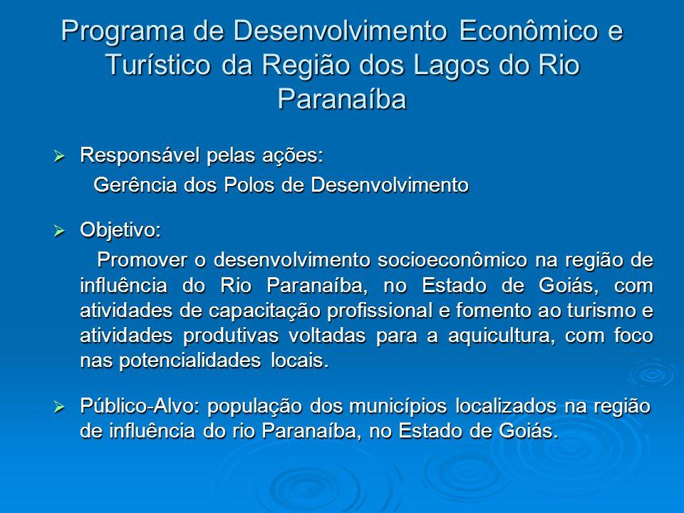 Programa de Desenvolvimento Econômico e Turístico da Região dos Lagos do Rio Paranaíba Responsável pelas ações: Responsável pelas ações: Gerência dos