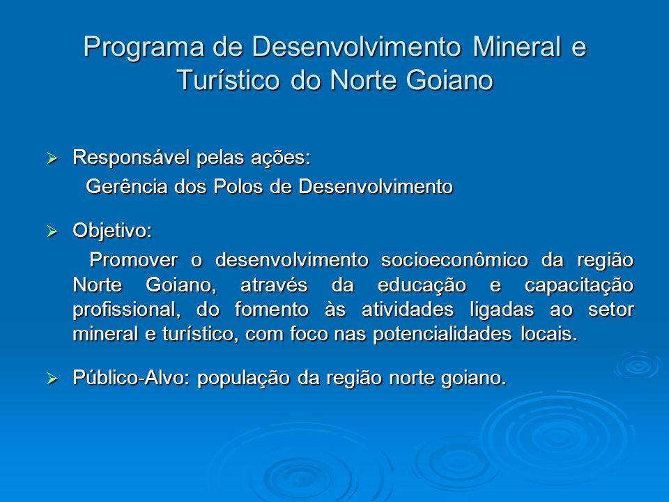 Programa de Desenvolvimento Mineral e Turístico do Norte Goiano Responsável pelas ações: Responsável pelas ações: Gerência dos Polos de Desenvolviment
