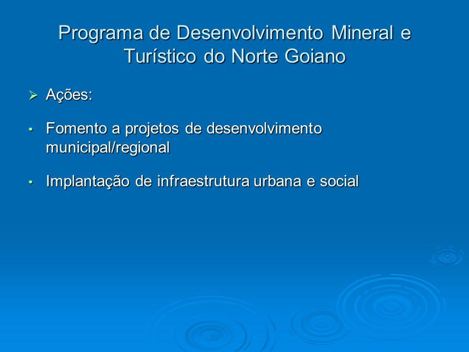 Programa de Desenvolvimento Mineral e Turístico do Norte Goiano Ações: Ações: Fomento a projetos de desenvolvimento municipal/regional Fomento a proje