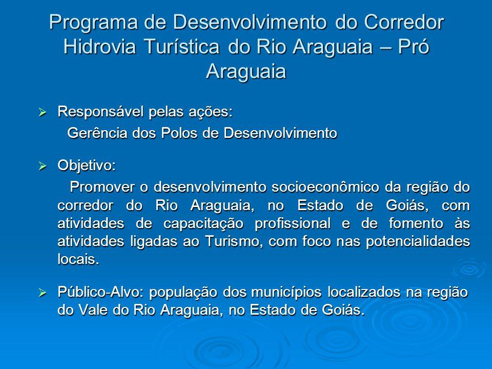 Programa de Desenvolvimento do Corredor Hidrovia Turística do Rio Araguaia – Pró Araguaia Responsável pelas ações: Responsável pelas ações: Gerência d