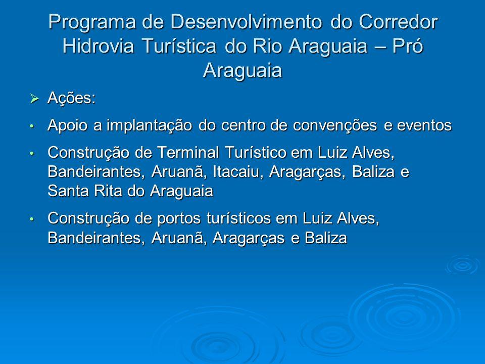 Programa de Desenvolvimento do Corredor Hidrovia Turística do Rio Araguaia – Pró Araguaia Ações: Ações: Apoio a implantação do centro de convenções e