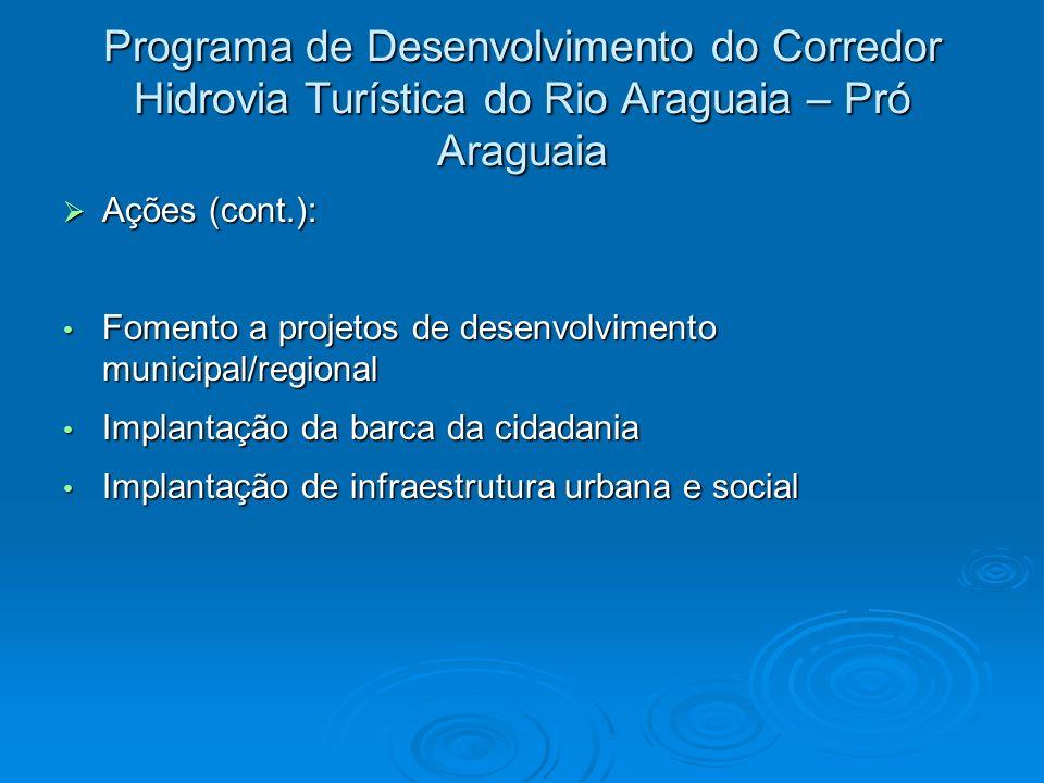Programa de Desenvolvimento do Corredor Hidrovia Turística do Rio Araguaia – Pró Araguaia Ações (cont.): Ações (cont.): Fomento a projetos de desenvol