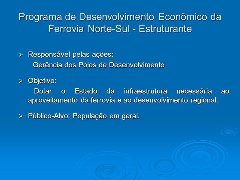 Programa de Desenvolvimento Econômico da Ferrovia Norte-Sul - Estruturante Responsável pelas ações: Responsável pelas ações: Gerência dos Polos de Des