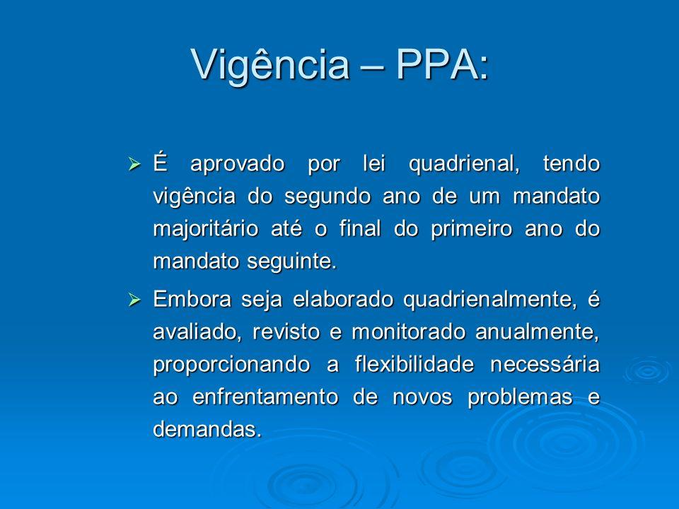 Vigência – PPA: É aprovado por lei quadrienal, tendo vigência do segundo ano de um mandato majoritário até o final do primeiro ano do mandato seguinte