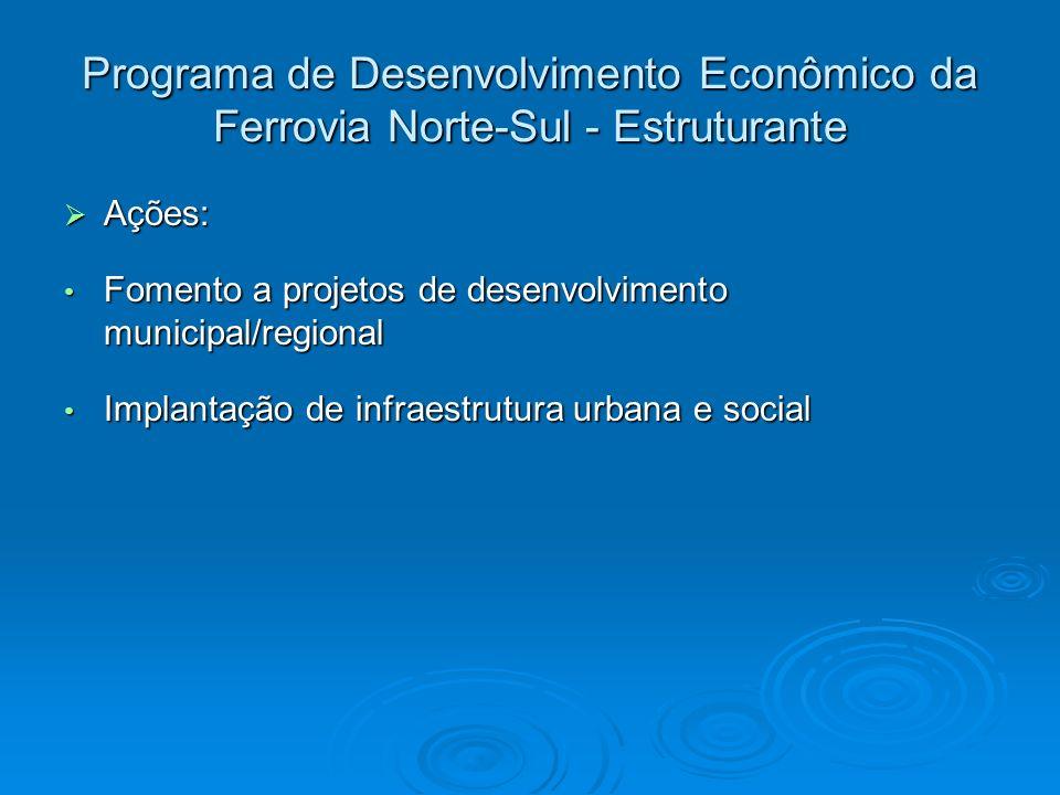 Programa de Desenvolvimento Econômico da Ferrovia Norte-Sul - Estruturante Ações: Ações: Fomento a projetos de desenvolvimento municipal/regional Fome