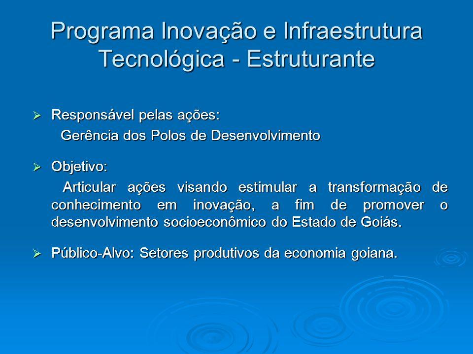 Programa Inovação e Infraestrutura Tecnológica - Estruturante Responsável pelas ações: Responsável pelas ações: Gerência dos Polos de Desenvolvimento
