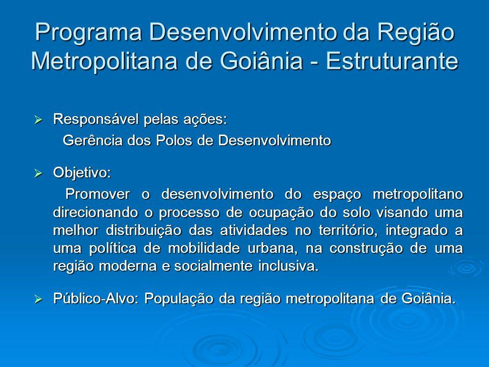 Programa Desenvolvimento da Região Metropolitana de Goiânia - Estruturante Responsável pelas ações: Responsável pelas ações: Gerência dos Polos de Des