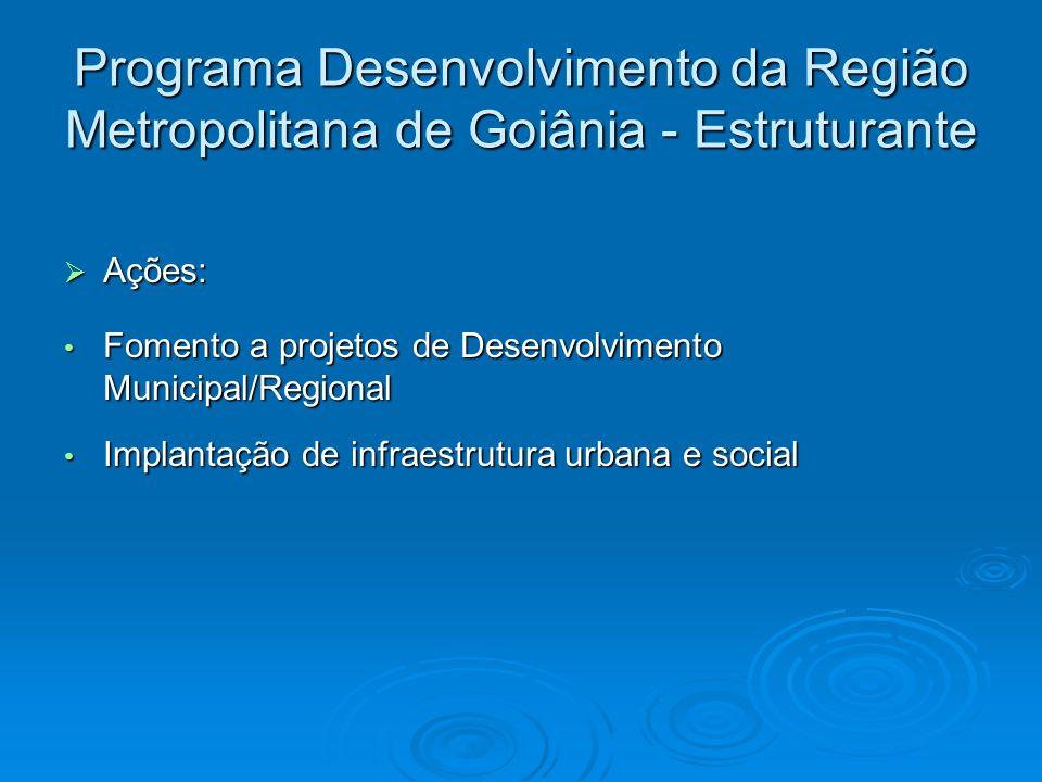 Programa Desenvolvimento da Região Metropolitana de Goiânia - Estruturante Ações: Ações: Fomento a projetos de Desenvolvimento Municipal/Regional Fome