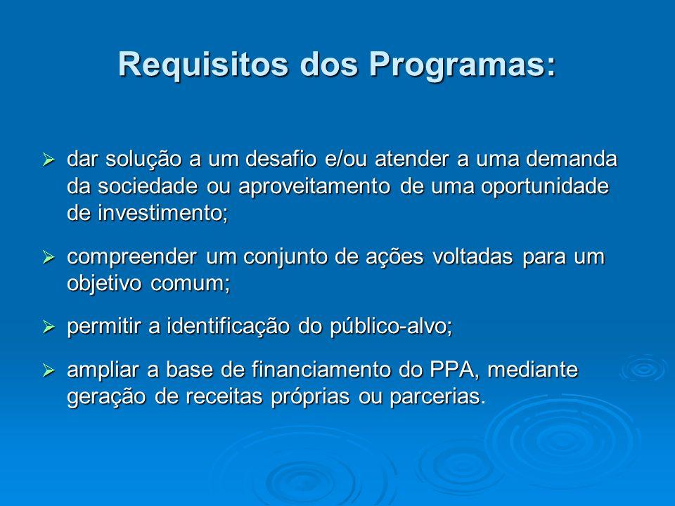 Requisitos dos Programas: dar solução a um desafio e/ou atender a uma demanda da sociedade ou aproveitamento de uma oportunidade de investimento; dar