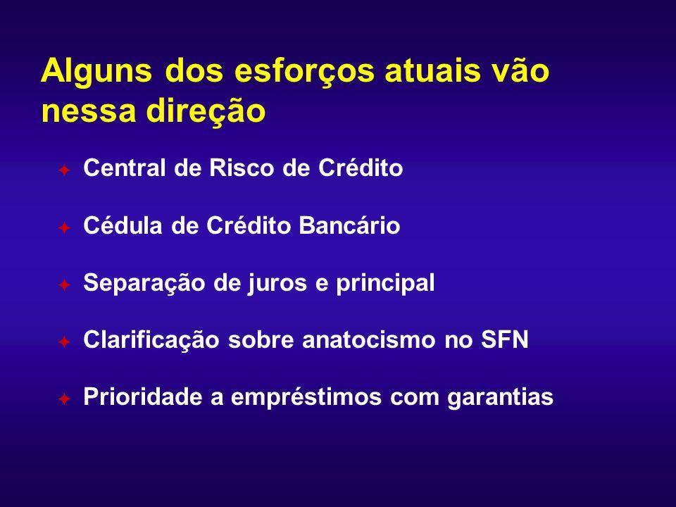 Alguns dos esforços atuais vão nessa direção F Central de Risco de Crédito F Cédula de Crédito Bancário F Separação de juros e principal F Clarificaçã