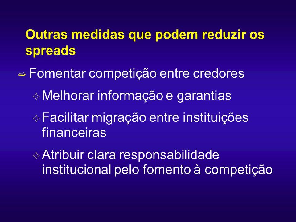 Outras medidas que podem reduzir os spreads ë Fomentar competição entre credores G Melhorar informação e garantias G Facilitar migração entre institui